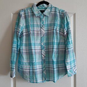 Talbots Petite Teal checkered classic cotton shirt